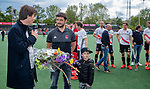 AMSTELVEEN  - Klaas Vering (Tophockey Amsterdam) met assistent-coach Joost Bitterling (Adam) . Bitteling neemt afscheid.   Hoofdklasse hockey dames ,competitie, heren, Amsterdam-Pinoke (3-2)  . COPYRIGHT KOEN SUYK