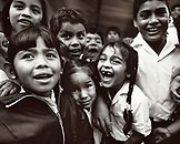 PANAMA, David, Guadalupe, Los Quetzales Lodge, school kids in the mountain town of Guadalupe, across the street from the Los Quetzales Lodge, Central America (B&W)