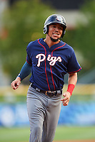 Lehigh Valley IronPigs shortstop J.P. Crawford (3) runs the bases during a game against the Buffalo Bisons on July 9, 2016 at Coca-Cola Field in Buffalo, New York.  Lehigh Valley defeated Buffalo 9-1 in a rain shortened game.  (Mike Janes/Four Seam Images)