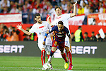 FC Barcelona's Neymar Santos Jr (c) and Sevilla CF's Escudero (l) and Krychowiak (r) during Spanish Kings Cup Final match. May 22,2016. (ALTERPHOTOS/Acero)