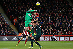 Martin Dubravka of Newcastle United punches the ball away from Billy Sharp of Sheffield United during the Premier League match at Bramall Lane, Sheffield. Picture date: 5th December 2019. Picture credit should read: James Wilson/Sportimage