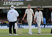 9th September 2017, Lords Cricket Ground, London, England; International test match series, third test, Day 3; England versus West Indies; England Bowler Stuart Broad and Moeen Ali of England question the not out decision with Umpire Marais Erasmus, after West Indies Jermaine Blackwood is given not out Leg Before Wicket by Broad