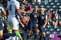 Glasgow, Scotland - July 25, 2012: Alex Morgan and Megan Rapinoe celebrate Morgan's second goal vs France.