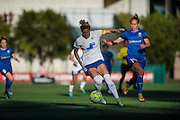 Seattle, WA - Saturday, July 02, 2016: Boston Breakers defender Kassey Kallman (5) and Seattle Reign FC forward Manon Melis (14) during a regular season National Women's Soccer League (NWSL) match between the Seattle Reign FC and the Boston Breakers  at Memorial Stadium.