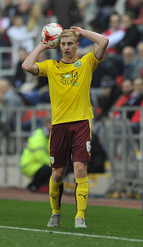 Burnley's Ben Mee<br /> <br /> Photographer Dave Howarth/CameraSport<br /> <br /> Football - The Football League Sky Bet Championship -  Rotherham United v Burnley - Friday 2nd October 2015 - AESSEAL New York Stadium - Rotherham<br /> <br /> &copy; CameraSport - 43 Linden Ave. Countesthorpe. Leicester. England. LE8 5PG - Tel: +44 (0) 116 277 4147 - admin@camerasport.com - www.camerasport.com