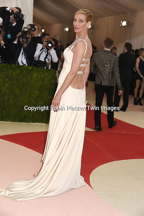 Uma Thurman attends the Metropolitan Museum of Art Costume Institute Benefit Gala on May 2, 2016 in New York, New York, USA. The show is Manus x Machina: Fashion in an Age of Technology. <br /> <br /> photo by Robin Platzer/Twin Images<br />  <br /> phone number 212-935-0770