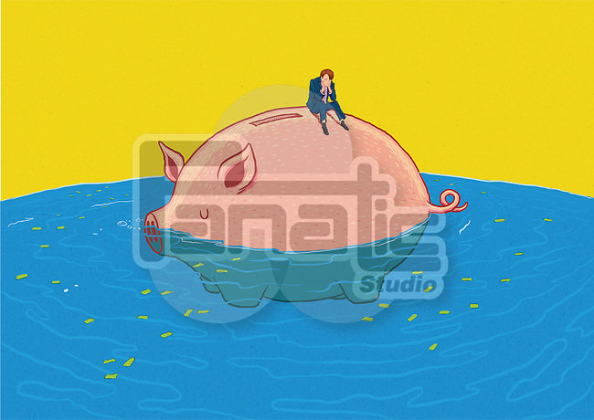 Illustrative image of sad businessman sitting on piggybank in sea representing loss of savings