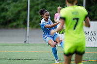 Seattle, WA - Sunday, May 22, 2016: Chicago Red Stars defender Samantha Johnson (16) clears the ball during a regular season National Women's Soccer League (NWSL) match at Memorial Stadium. Chicago Red Stars won 2-1.