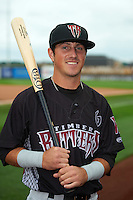 Wisconsin Timber Rattlers shortstop Blake Allemand (6) poses for a photo before the first game of a doubleheader against the Quad Cities River Bandits on August 19, 2015 at Modern Woodmen Park in Davenport, Iowa.  Quad Cities defeated Wisconsin 3-2.  (Mike Janes/Four Seam Images)