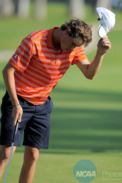 31 MAY 2012:  Thomas Pieters of the University of Illinois tips his  cap after winning the individual title during the Division I Men's Golf Championship held at the Riviera Country Club in Pacific Palisades, CA.  Pieters won the individual title with a -5 score.  Jack Dempsey/NCAA Photos