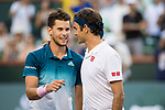 March 17, 2019: Dominic Thiem (AUT) and Roger Federer (SUI) shake hands after their match. Thiem defeated Federer 6-3, 3-6, 7-5 in the finals of the BNP Paribas Open at the Indian Wells Tennis Garden in Indian Wells, California. ©Mal Taam/TennisClix/CSM