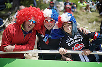 colourful fans up Ventoux<br /> <br /> stage 12: Montpellier - Mont Ventoux (shortened stage due to wind until Chalet Reynard; 178km)<br /> 103rd Tour de France 2016