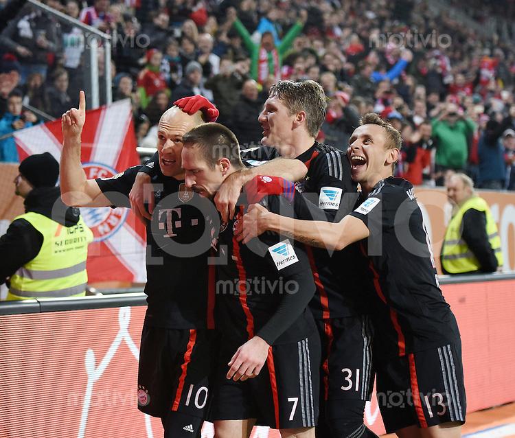 Fussball  1. Bundesliga  Saison 2014/2015  15. Spieltag  FC Augsburg - FC Bayern Muenchen     13.12.2014 JUBEL FC Bayern Muenchen; Arjen Robben, Franck Ribery, Bastian Schweinsteiger und Rafinha (v.li.)
