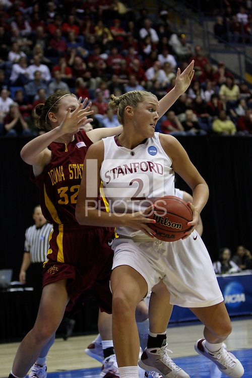 BERKELEY, CA - MARCH 30: Jayne Appel backs down a defender for a layup during Stanford's 74-53 win against the Iowa State Cyclones on March 30, 2009 at Haas Pavilion in Berkeley, California.