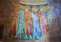 13th century Byzantine Roman style frescoes of the apostles on the apse wall of the Romanesque Basilica Church of Santa Maria Maggiore, Tuscania