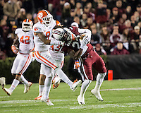 The tenth ranked South Carolina Gamecocks host the 6th ranked Clemson Tigers at Williams-Brice Stadium in Columbia, South Carolina.  USC won 31-17 for their fifth straight win over Clemson.  South Carolina Gamecocks wide receiver Bruce Ellington (23), Clemson Tigers cornerback Darius Robinson (8)