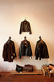 USA, California, San Francisco, leather jackets adn bags at Knitz and Leather, North Beach