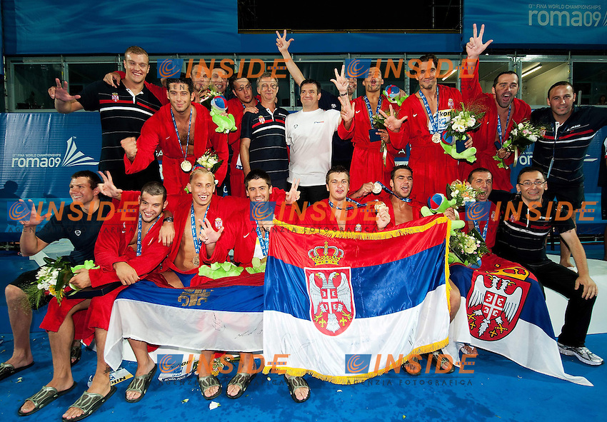 Roma 1st August 2009 - 13th Fina World Championships From 17th to 2nd August 2009.Water Polo Men.Gold Medal Match..SERBIA      Gold Medal..photo: Roma2009.com/InsideFoto/SeaSee.com