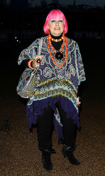 ZANDRA RHODES .The Montblanc De La Culture Arts Patronage Award, Tate Modern, South Bank, London, England, April 16th 2009..full length pink dyed hair blue print top black trousers patterned boots purple orange beads necklace bracelet jewellery jewelry chunky ring .CAP/CAN.©Can Nguyen/Capital Pictures