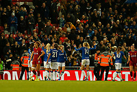 17th November 2019; Anfield, Liverpool, Merseyside, England; Womens Super League Footballl, Liverpool Women versus Everton; Everton players celebrate in front of their fans after they secure a 1-0 win at Anfield