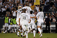 Los Angeles Galaxy midfielder (23) David Beckham celebrates scoring off a free kick during the first half against D.C. United at the Home Depot Center in Carson, CA on Wednesday, August 15, 2007. The Los Angeles Galaxy defeated D. C. United 2-0 in a SuperLiga semifinal match.