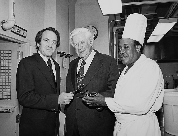 "Speaker of the House, Rep. Thomas Phillip ""Tip"" O'Neill, House Majority Leader and Rep. Sedgwick William ""Bill"" Green, R- N.Y., House of Representatives Member standing with chef. (Photo by Keith Jewell/CQ Roll Call)"