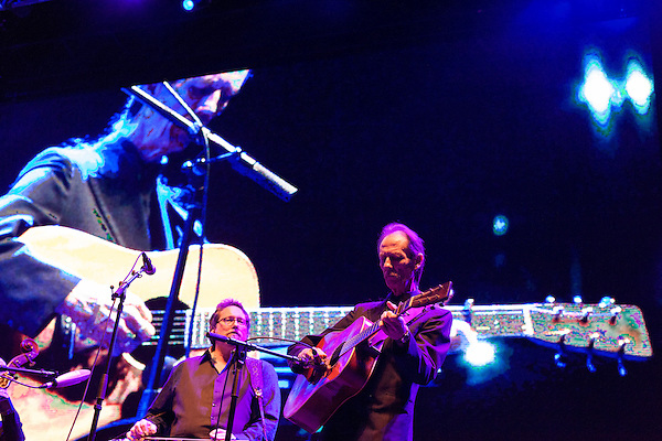 September 27, 2013. Raleigh, North Carolina.<br />  Tony Rice, right, and Jerry Douglas on the stage at Wide Open Bluegrass, where they played with a cast of bluegrass greats that included Del McCoury, Sam Bush, Bela Fleck and Mark Schatz.<br />  After being inducted into the International Bluegrass Music Hall of Fame the night before, guitar legend Tony Rice took the stage with many notable friends for a sold out show at the Red Hat Amphitheater