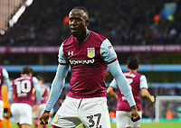 Albert Adomah of Aston Villa celebrates scoring his goal against Wolverhampton Wanderers.<br /> <br /> Photographer Leila Coker/CameraSport<br /> <br /> The EFL Sky Bet Championship - Aston Villa v Wolverhampton Wanderers - Saturday 10th March 2018 - Villa Park - Birmingham<br /> <br /> World Copyright &copy; 2018 CameraSport. All rights reserved. 43 Linden Ave. Countesthorpe. Leicester. England. LE8 5PG - Tel: +44 (0) 116 277 4147 - admin@camerasport.com - www.camerasport.com