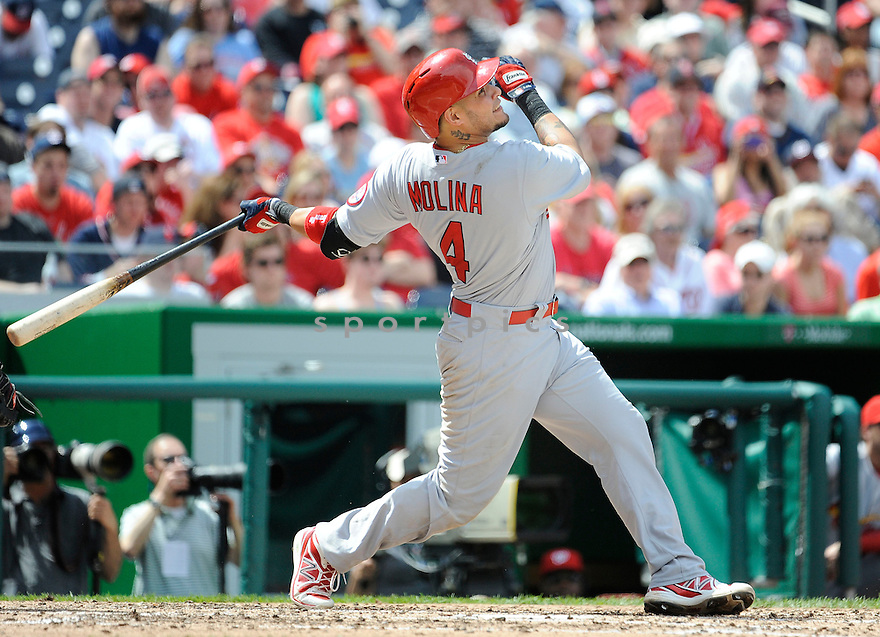 St. Louis Cardinals Yadier Molina (4) during a game against the Washington Nationals on April 24, 2013 at Nationals Park in Washington DC. The Cardinals beat the Nationals 4-2.