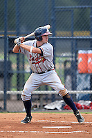 GCL Braves designated hitter Reed Harper (25) at bat during the second game of a doubleheader against the GCL Yankees 1 on July 1, 2014 at the Yankees Minor League Complex in Tampa, Florida.  GCL Braves defeated the GCL Yankees 1 by a score of 3-1.  (Mike Janes/Four Seam Images)