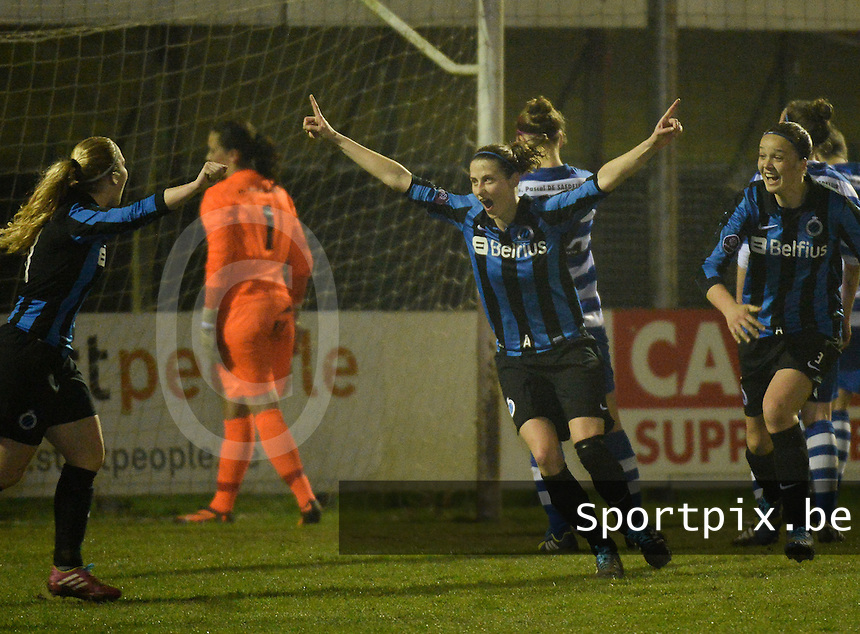 20140326 - AALTER , BELGIUM : Brugge's Heleen Jaques (m) pictured scoring the 1-0 for Brugge  during the soccer match between the women teams of Club Brugge Vrouwen  and AA Gent  Ladies , on the 21th matchday of the BeNeleague competition Friday 14 March 2014 in Aalter. PHOTO DAVID CATRY
