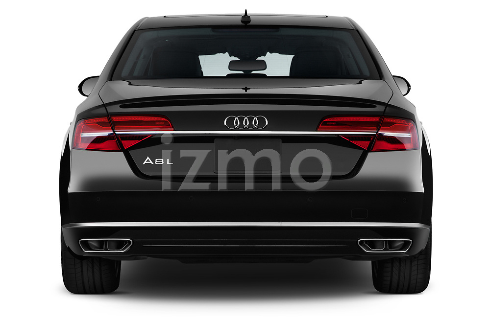 Straight rear view of 2015 Audi A8 3.0T LWB quattro tiptronic 4 Door Sedan stock images