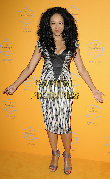 Kelly Hoppen.The Veuve Clicquot Business Woman Award 2012, Claridge's Hotel, London, England..April 18th, 2012.full length black white leopard animal print dress hands arms.CAP/CAN.©Can Nguyen/Capital Pictures.