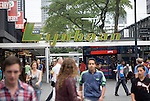 The Lijnbaan, opened in 1953, was first purpose-built pedestrian only shopping street in Europe Rotterdam, Netherlands