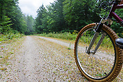 Man biking on Rob Brook Road in Albany, New Hampshire USA. This dirt road follows parts of the old Bartlett and Albany Railroad which was a logging railroad in operation from 1887 - 1894