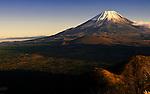 Photo shows Mt Fuji viewed from near Lake Shoji in Fujikawaguchiko Town, Yamanashi Prefecture Japan.  Photographer: Robert Gilhooly