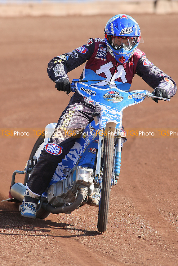 Kauko Nieminen of Lakeside Hammers in racing action - Lakeside Hammers Speedway Press & Practice Day at Arena Essex Raceway, Purfleet - 20/03/12 - MANDATORY CREDIT: Gavin Ellis/TGSPHOTO - Self billing applies where appropriate - 0845 094 6026 - contact@tgsphoto.co.uk - NO UNPAID USE.