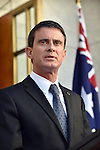 French Prime Minister Manuel Valls speaks during a press conference with Australian Prime Minister Malcolm Turnbull at Parliament House, Canberra on May 2, 2016. AFP PHOTO / MARK GRAHAM