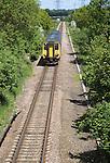 Diesel train on the East Suffolk railway line between Lowestoft and Ipswich, Suffolk, England