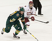 Ori Abramson (UVM - 27), Luke McInnis (BC - 3) - The visiting University of Vermont Catamounts tied the Boston College Eagles 2-2 on Saturday, February 18, 2017, Boston College's senior night at Kelley Rink in Conte Forum in Chestnut Hill, Massachusetts.Vermont and BC tied 2-2 on Saturday, February 18, 2017, Boston College's senior night at Kelley Rink in Conte Forum in Chestnut Hill, Massachusetts.