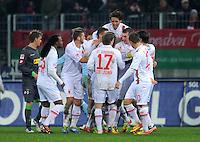 FUSSBALL   1. BUNDESLIGA  SAISON 2011/2012   16. Spieltag FC Augsburg - Borussia Moenchengladbach            10.12.2011 Jubel nach dem Tor zum 1:0 durch Jan Ingwer Callsen Bracker (FC Augsburg)