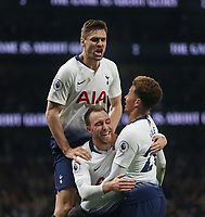 Tottenham Hotspur's Christian Eriksen celebrates scoring his side's first goal with Fernando Llorente and Dele Alli<br /> <br /> Photographer Rob Newell/CameraSport<br /> <br /> The Premier League - Tottenham Hotspur v Brighton and Hove Albion - Tuesday 23rd April 2019 - White Hart Lane - London<br /> <br /> World Copyright © 2019 CameraSport. All rights reserved. 43 Linden Ave. Countesthorpe. Leicester. England. LE8 5PG - Tel: +44 (0) 116 277 4147 - admin@camerasport.com - www.camerasport.com