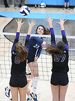 NWA Democrat-Gazette/J.T. WAMPLER Springdale Har-Ber's Jayci Carpenter gets a kill past Fayetteville's Amelia Whatley (6) and Carly Unruh Tuesday Oct. 10, 2017 at Wildcat Arena in Springdale. Springdale Har-Ber beat Fayetteville in 5 sets (22-25, 25-19, 25-21, 23-25, 20-18).