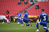 4th July 2020; Ashton Gate Stadium, Bristol, England; English Football League Championship Football, Bristol City versus Cardiff City; Leandro Bacuna of Cardiff City takes a knee before kick off in tribute to BLM