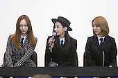 London, UK. 9 August 2015. 3 members of F(x), Krystal, Victoria and Luna attend a press conference ahead of their performance in Trafalgar Square. They declined to comment about member Sulli leaving the group. Korean mega-stars K-pop girl group F(x) headline the Korean Festival in London's Trafalgar Square. Photo: Bettina Strenske