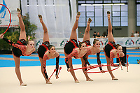 USA Senior Group holds balance during hoops + clubs routine at 2007 Genoa World Cup of Rhythmic Gymnastics Groups on June 9, 2007 at Genoa, Italy.  (Photo by Tom Theobald)