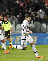 Calcio, Serie A: Juventus vs Inter. Torino, Juventus Stadium, 28 February 2016.<br /> Juventus&rsquo; Alvaro Morata celebrates after scoring on a penalty kick during the Italian Serie A football match between Juventus and Inter at Turin's Juventus Stadium, 28 February 2016.<br /> UPDATE IMAGES PRESS/Isabella Bonotto