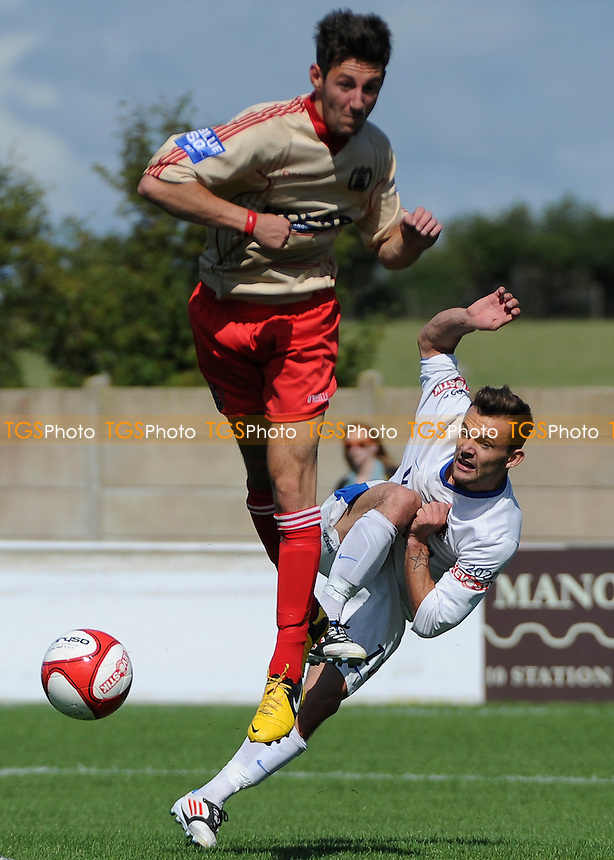 Danny Lloyd of AFC Fylde has a shot at goal - AFC Fylde vs Workington Town - Friendly Football Match at Kellamergh Park, Bryning Lane, Warton - 03/08/13 - MANDATORY CREDIT: Greig Bertram/TGSPHOTO - Self billing applies where appropriate - 0845 094 6026 - contact@tgsphoto.co.uk - NO UNPAID USE