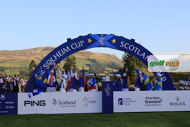 Team Europe celebrate winning the Solheim Cup 2019, Gleneagles Golf CLub, Auchterarder, Perthshire, Scotland. 15/09/2019.<br /> Picture Thos Caffrey / Golffile.ie<br /> <br /> All photo usage must carry mandatory copyright credit (© Golffile | Thos Caffrey)
