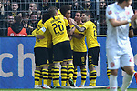 11.05.2019, Signal Iduna Park, Dortmund, GER, DFL, 1. BL, Borussia Dortmund vs Fortuna Duesseldorf, DFL regulations prohibit any use of photographs as image sequences and/or quasi-video<br /> <br /> im Bild die Mannschaft von Dortmund jubelt nach dem Tor zum 2:1 Torschuetze Thomas Delaney (#6, Borussia Dortmund) <br /> <br /> Foto &copy; nordphoto/Mauelshagen